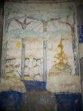 泰国ESARN著名独特的神话故事墙壁上的壁画绘画 免版税图库摄影