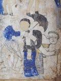 泰国ESARN著名独特的神话故事墙壁上的壁画绘画 库存图片