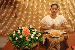 泰国Niramit展示-西瓜艺术 免版税库存图片