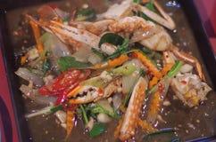 泰国Stirfried螃蟹和菜 免版税库存照片