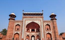 泰姬陵南盛大入口门,阿格拉,印度 免版税图库摄影