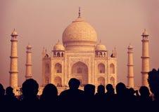 泰姬陵印度七个奇迹概念 库存照片