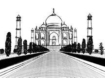 泰姬陵寺庙在白色背景的木炭剪影 免版税库存照片