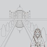 泰姬陵寺庙地标在阿格拉,印度 印地安白色大理石陵墓、印地安建筑学和南亚美丽的妇女weari 库存例证