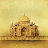 泰姬陵的葡萄酒图象日出的,阿格拉,印度 库存照片