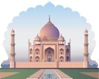 泰姬陵通过窗口acient印度-例证 免版税库存照片