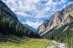 泰安Shyan山,峡谷卡拉科尔,吉尔吉斯斯坦 免版税库存照片