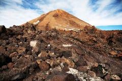 泰德峰火山山上面  免版税库存照片
