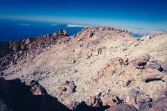 泰德峰的峰顶,特内里费岛 免版税库存照片