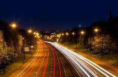 泰恩河畔纽卡斯尔夜 库存图片