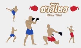 泰拳艺术传染媒介汇集 免版税库存照片