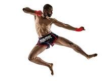 泰拳kickboxing的kickboxer拳击人被隔绝 免版税库存照片