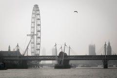 泰晤士和雾 免版税库存图片