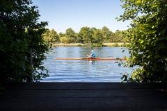 泰晤士河的划船者Sculling在泰晤士的Henley在Oxfordshir 库存照片