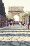 泰特斯曲拱罗马的皇家论坛的 免版税库存照片