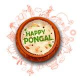 泰米尔纳德邦南印度问候背景愉快的Pongal假日收获节日  向量例证