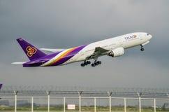 泰航飞机起飞 库存照片