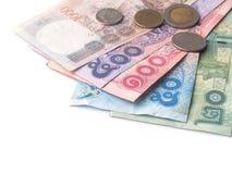 泰铢品种在白色背景的 免版税库存照片