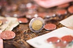 泰铢,金钱,泰国硬币 被排序的金钱泰国硬币浴楼梯 泰国的国王 财政规划,挽救的概念 免版税图库摄影