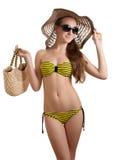泳装妇女黄色 库存图片