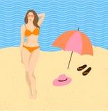 泳装的女孩在海滩五颜六色的传染媒介例证 库存例证