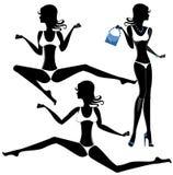 泳装集合的黑人妇女 剪影 股票 库存照片