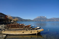 泸沽湖在云南 免版税库存图片