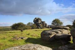 泼妇突岩, dartmoor国家公园德文郡 图库摄影