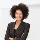 活泼的非裔美国人的女实业家 免版税库存照片