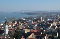 泽蒙和河多瑙河,贝尔格莱德看法  免版税库存图片