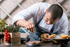 洒在盘的厨师香料在商业厨房里 食家餐馆 免版税库存图片