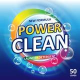 洗手间或卫生间木盆清洁剂横幅广告 洗涤剂五颜六色的模板 洗衣粉或液体洗衣店 库存例证