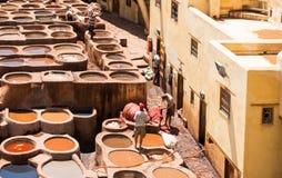 洗染皮革的工作者在一个皮革厂在菲斯 免版税库存图片