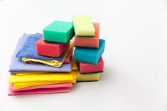 洗涤剂和清洁辅助部件 清洁服务概念 免版税库存图片