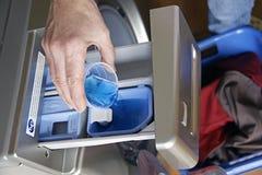 洗涤剂效率高洗衣店 图库摄影