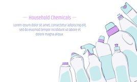 洗涤剂瓶和化学制品家庭产品横幅模板 库存例证