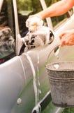洗涤有肥皂的汽车 库存图片