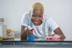 洗涤的橡胶的年轻美丽和愉快的美国黑人的黑人妇女给有布料微笑的快乐的清洁家庭厨房穿衣 免版税库存图片