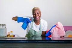洗涤的橡胶的年轻美丽和愉快的美国黑人的黑人妇女给有布料微笑的快乐的清洁家庭厨房穿衣 图库摄影