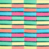 洗涤的盘的许多多彩多姿的海绵 washcloths 多彩多姿的纹理 库存图片