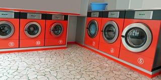 洗涤的肮脏的布料自动洗衣店 免版税库存图片