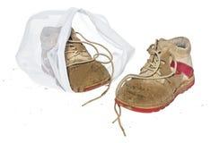 洗涤精美衣裳的,鞋子,内衣,胸罩袋子 一个洗衣店 库存照片