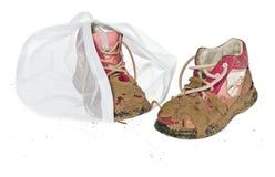 洗涤精美衣裳的,鞋子,内衣,胸罩袋子 一个洗衣店 免版税库存图片
