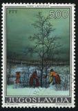 洗涤衣裳的三名妇女在冬天伊冯Lackovic 免版税图库摄影