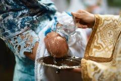 洗礼仪式在教会里 免版税图库摄影