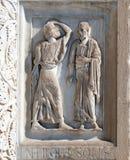 洗礼池装饰,大教堂在比萨 免版税库存图片
