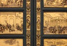 洗礼池详细资料门佛罗伦萨天堂 免版税库存图片