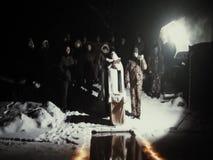 洗礼盘夜的奉献突然显现基督徒宴餐在俄罗斯的卡卢加州地区 股票录像