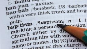 洗礼,指向在字典,基督徒宗教分支,信念的铅笔词 影视素材
