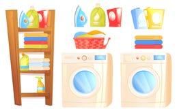 洗衣店家具对象 洗衣机机器,铁,洗衣粉,与家庭事的架子清洗的房子和毛巾 库存例证